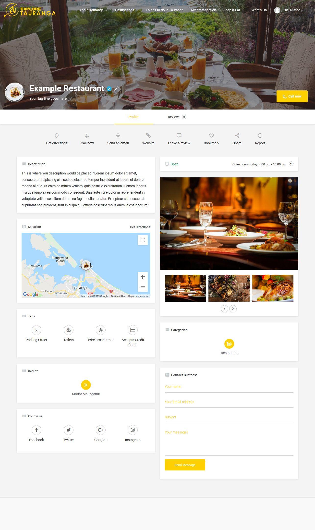 Explore Tauranga Listing Feature